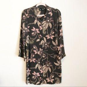 Mossimo Floral Paisley Silk Shirt Dress